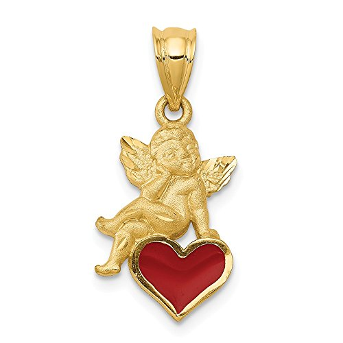 Angel Enameled Pendant (Jewel Tie 14K Yellow Gold Enameled Angel on Heart Pendant - (0.94 in x 0.47 in))