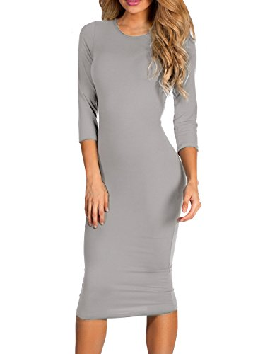 ICONOFLASH 3/4 Sleeve Midi Bodycon Dress (Metal Grey, (Sassy Jersey Dress)