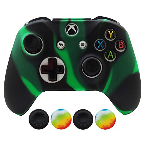 Hikfly Silicone Controller Cover Skin Protector Case Faceplates Kits for Xbox One X / One S/Slim Controller with 4pcs Thumb Grips Caps(Greenblack)