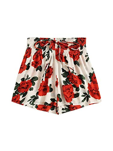 (SheIn Women's Casual Drawstring Elastic Waist Summer Shorts Jersey Walking Shorts Large Rose Print)