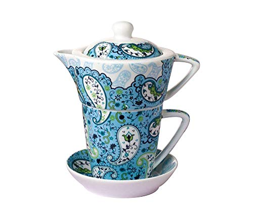 ufengke-ts European Royal Flower Ceramic Tea One-Set,Stacking Teapot Cup, Blue