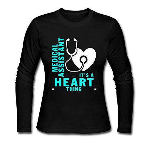 HKH&G55 Medical Assistant Heart Women's Long Sleeve Tshirt Crew Neck Tees