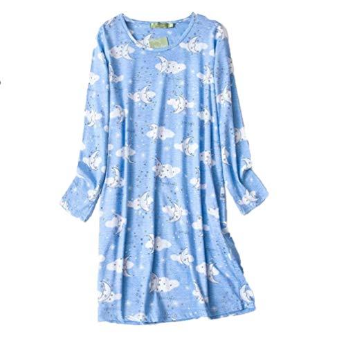 Clouds Print Cotton Nightgown - Amoy madrola Women's Nightgown Cotton Sleep Tee Nightshirt Casual Print Sleepwear XTSY109-Long Cloud Moon-L