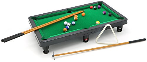 Little Treasures Mini Table Top Pool Table Billiards Play Set with Cues, Triangle and 16 Balls Set