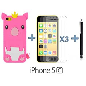 OnlineBestDigital - Piggy Style Silicone Case for Apple iPhone 5C - Hot Pink with 3 Screen Protectors and Stylus