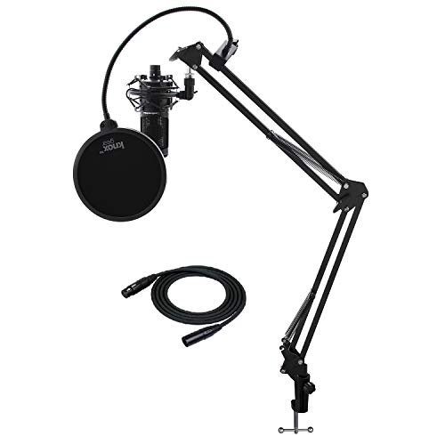 Audio-Technica AT2020 Condenser Studio Microphone with Knox Gear Filter, Boom Arm, Cable and Shock Mount Bundle (5 Items)