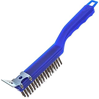 """Carlisle 4067200 Sparta Scratch Brush with Scraper, Plastic Handle, 1-1/4""""-Long Stainless Steel Bristles, 5-1/2"""" Bristle Area Length, 11-1/2"""" Overall Length"""