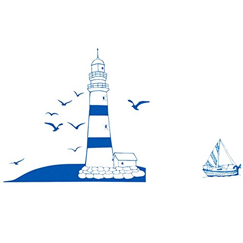 Wall Decals Blue Lighthouse PVC Wall Stickers - 7