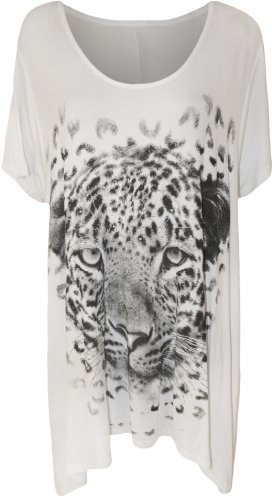 WearAll Women's Tiger Sparkle Print Top - White - US 18-20 (UK 22-24)