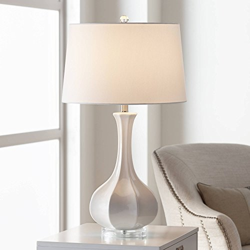 - Aurion Coastal Table Lamp Fluted Ceramic Gourd White Drum Shade for Living Room Family Bedroom Bedside Nightstand - Possini Euro Design