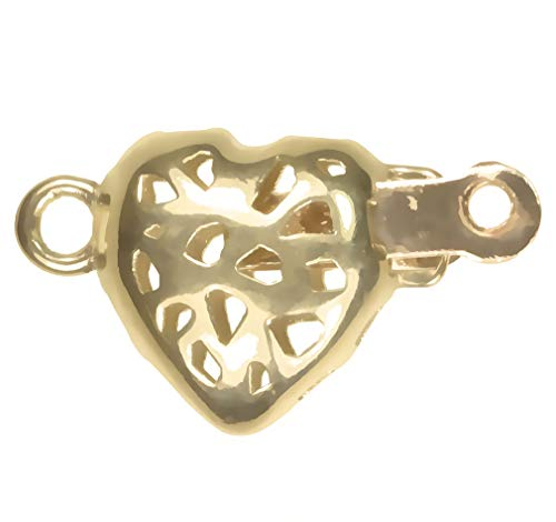 uGems 14K Gold Heart Filigree Clasp 8mm