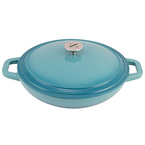Zelancio Cookware 3 Quart Enameled Cast iron Casserole Dish with lid. Perfect Braiser Pan for Cooking your Favorite Slow Cooker Meals (Teal)