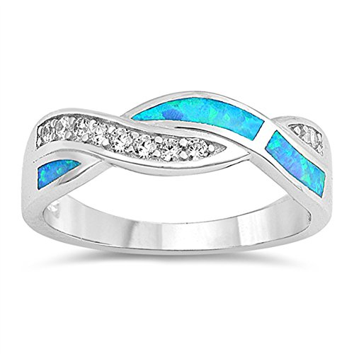 Opal Knot (Blue Simulated Opal Knot Thumb Criss Cross Ring .925 Sterling Silver Band Size 9)