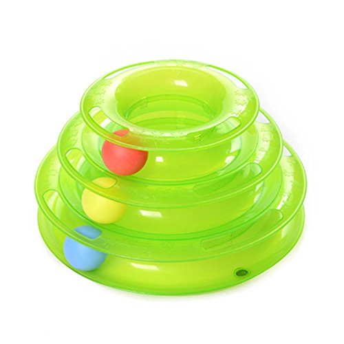 Cat-Pet-Roller-Toy-Super-Fun-3-Level-Tower-Ball-Track-Toy-Endless-Interactive-Play-Mental-Physical-Exercise-For-Kittens-Heavy-Duty-Lightweight-Construction-Toys-Amusement-Plate-OrangeGreen