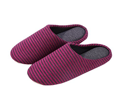 Blubi Womens Cotton Striped Suede Slipper Bedroom Slippers Indoor Slippers Red H1utD