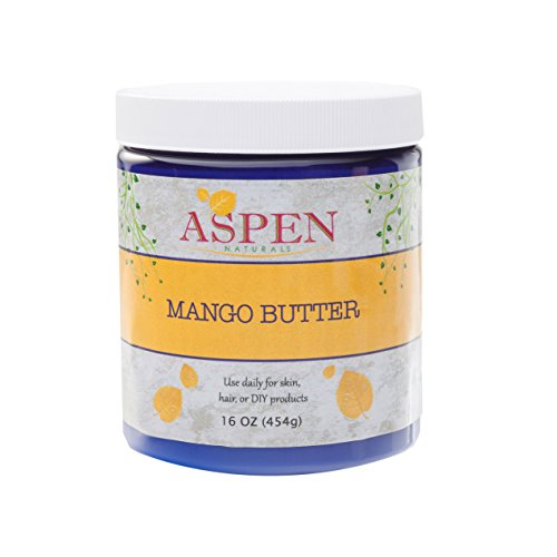 Mango Butter Pure Raw Unrefined - 16 Oz All Natural Skin Moisturizer with Intensive Healing Properties. Scent Free. Use for Body Butter, Lotion, Moisturizer, Hair, etc. Aspen Naturals Brand