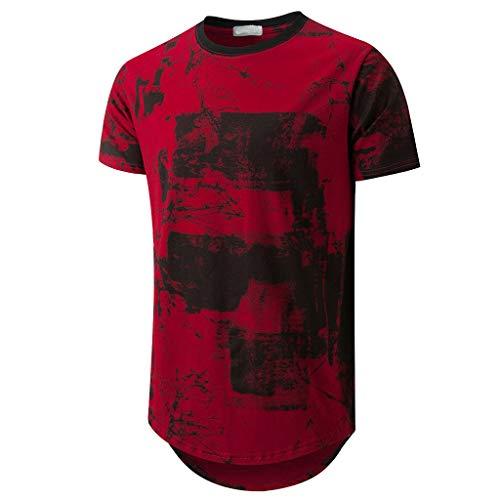 HYIRI Mature cuteMen's Short Sleeve O-Neck Splicing Casual Top Blouse Shirts Red