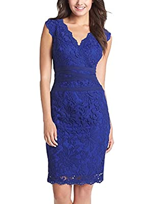 Fantaist Women's Party Sleeveless Waistband Scalloped Floral Lace Cocktail Dress