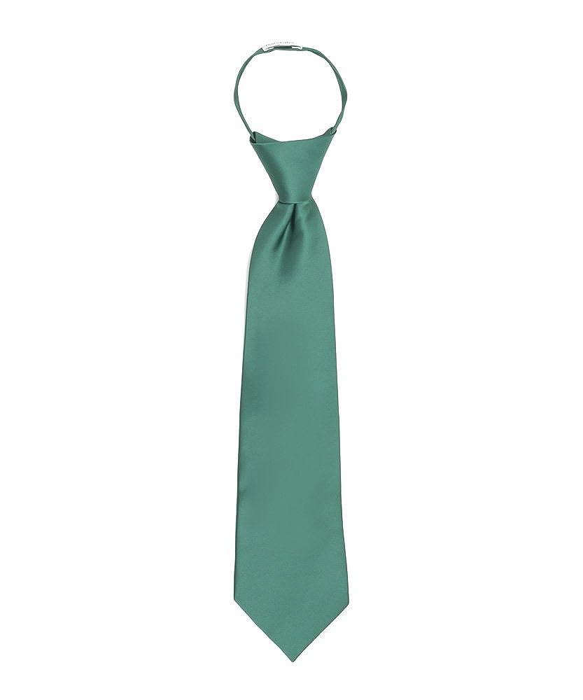 Jacob Alexander Boy's 11' Pretied Ready Made Solid Color Zipper Tie JPSBZE003