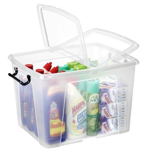 Strata Smart Box caja con tapa abatible, cierre de Clip y asas, transparente, Transparente, 40 l