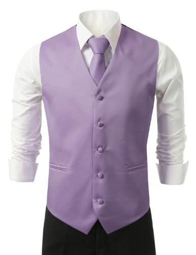 IDARBI for MEN 3 Pieces Set Solid Formal Tuxedo Vest Set / (Lavender Tuxedo)
