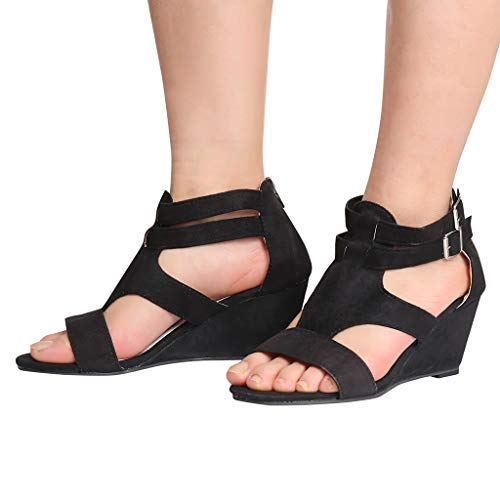COOKI Women Sandals Summer Hollow Out Wedges Sandals Retro Casual Shoes Buckle Strap Gladiator Roman Sandals -