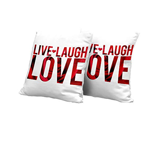 Montage Cover Futon - All of better futon Cushion Cover Live Laugh Love Decor,Typographic Montage Words with Macro Rose Petals Texture Print,Red White Black Sofa Pillow Covers 16x16 INCH 2pcs