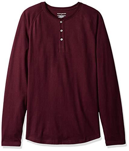 shirt Collar Rosso Slim lunga Borgogna Uomo Essentials Tunisian T Amazon Manica 7xpw1Xftq