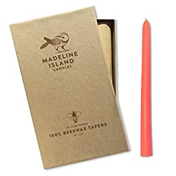 Beeswax Taper Candles - Pink - Box of 6