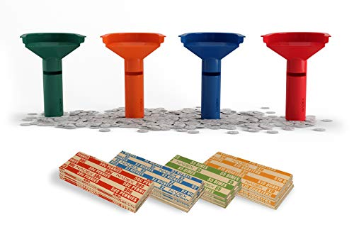 Coin Stacking Tubes with 250 Coin Wrappers - Easy Wrap Funnel Shaped Color-Coded Coin Roll Sorting Tubes ()