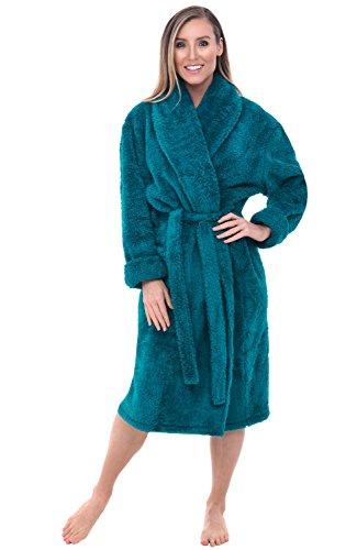 Alexander Del Rossa Women's Plush Fleece Robe, Warm Shaggy Bathrobe, Large XL Ocean Depth Green (A0302ODPXL)