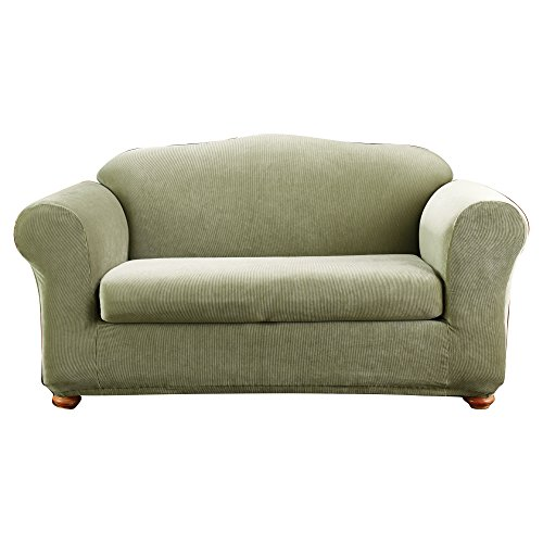Sure Fit Madison Stripe Loveseat Slipcover in Sage