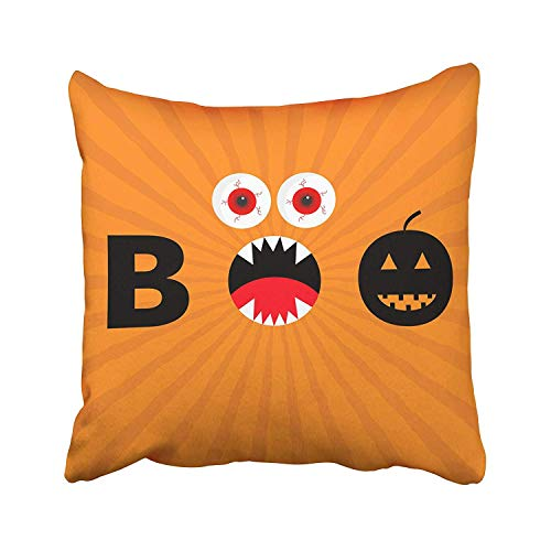 GETTOGET Word Boo Text with Smiling Sad Black Pumpkin Silhouette Angry Screaming Mouth Fangs Tongue Red Eyes Evil Pillow Cases Personalized Throw Pillow Cover for Sofa Home Room Bed 22x22 in