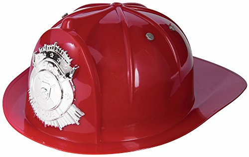 Adults Plastic Fire Hat (Deluxe Fireman Fire Fighter Red Hat Costume Accessory)