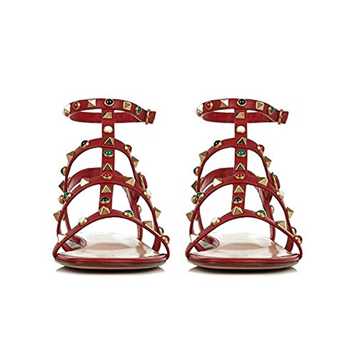 Chunky Rosso Donna Sandali con Mid Sandals Pan Pietra Slide Slipper Borchie Open Toe Borchie con Dress Block Multicolore 45EU per Heel 35 Caitlin Heels 5I1wF5
