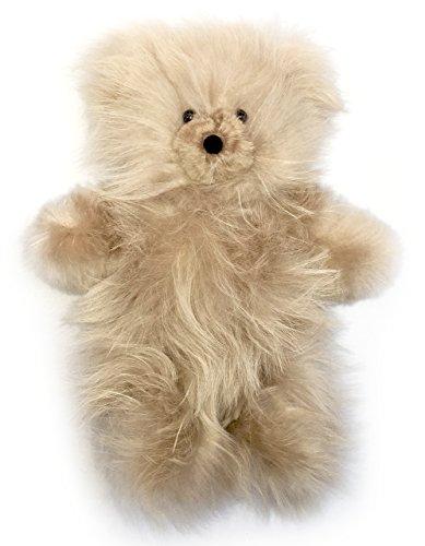 Baby Alpaca Fur Teddy Bear - Hand Made 10 Inch Platinum Blonde
