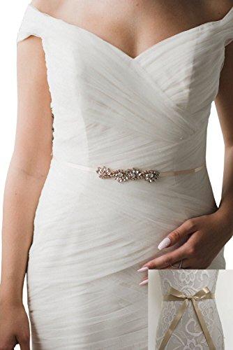 Champagne Belt (Rhinestones bridesmaids dresses sashes wave style formal dress belts (Light)