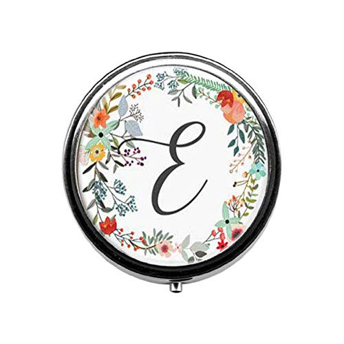 - Personalized Monogram Pill Box,Floral Trinket Candy Box