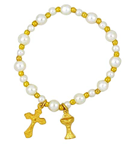 (Girls Gold Toned Artificial Pearl Stretch First Communion Rosary Bracelet, 2 Inch)