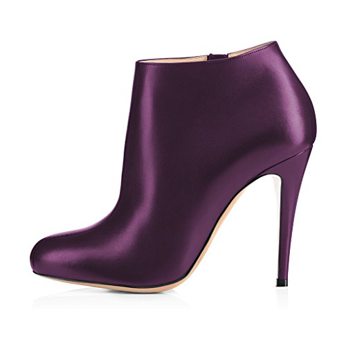 Purple FSJ Almond Women Stiletto Booties Shoes Toe 4 Zipper Side US 15 Size Comfy Ankle Heels Fashion Dark with SqUwpxS