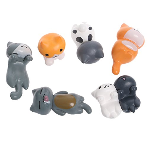 Techinal 6Pcs Miniature Cat Figurines, Cartoon Lazy Cat Toy Hand Landscape Garden Decor (Cat Figurine Collection)