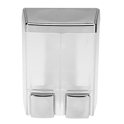 Shampoo and Soap Dispensers Wall Mount 2-Chamber Shower Dispenser(Transparent+Silvery) by Childplaymate