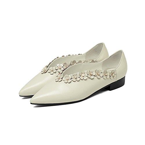 Plat Chaussures Peu Talons Casual Bouche Femmes à White MEI Chaussures LSM Rice amp;S Profonde HPA1pXq