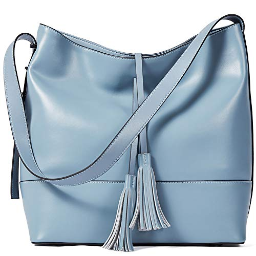 BOSTANTEN Women Leather Shoulder Bucket Handbag Tote Top-handle Purse light blue