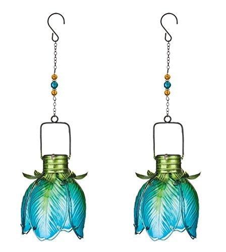 Regal Art & Gift Solar Flower Lantern - Blue Iris Set of 2