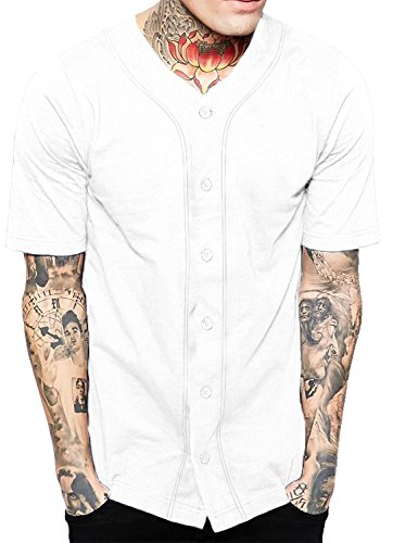 Hat and Beyond Mens Baseball Button Down Jersey 1UPA0001 (3X-Large, 1up01_White/White)