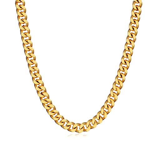 WINNICACA Men Fake Gold Chains 24k Gold Plated Italy Cuban Hip Hop Chain Necklace Fashion Jewelry 20inch,5mm Wide Unisex