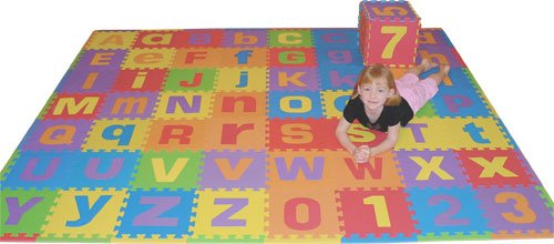 amazoncom uppercase and lowercase 72 sq ft we sell mats alphabet and number floor puzzle each tile 12x12x38 thick with borders toys games