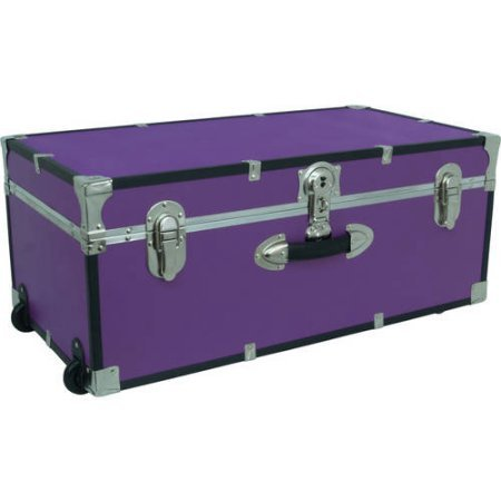 "Price comparison product image Seward Trunk Wheeled Storage Footlocker,  30"",  PURPLE,  ( Durable,  wooden construction )"