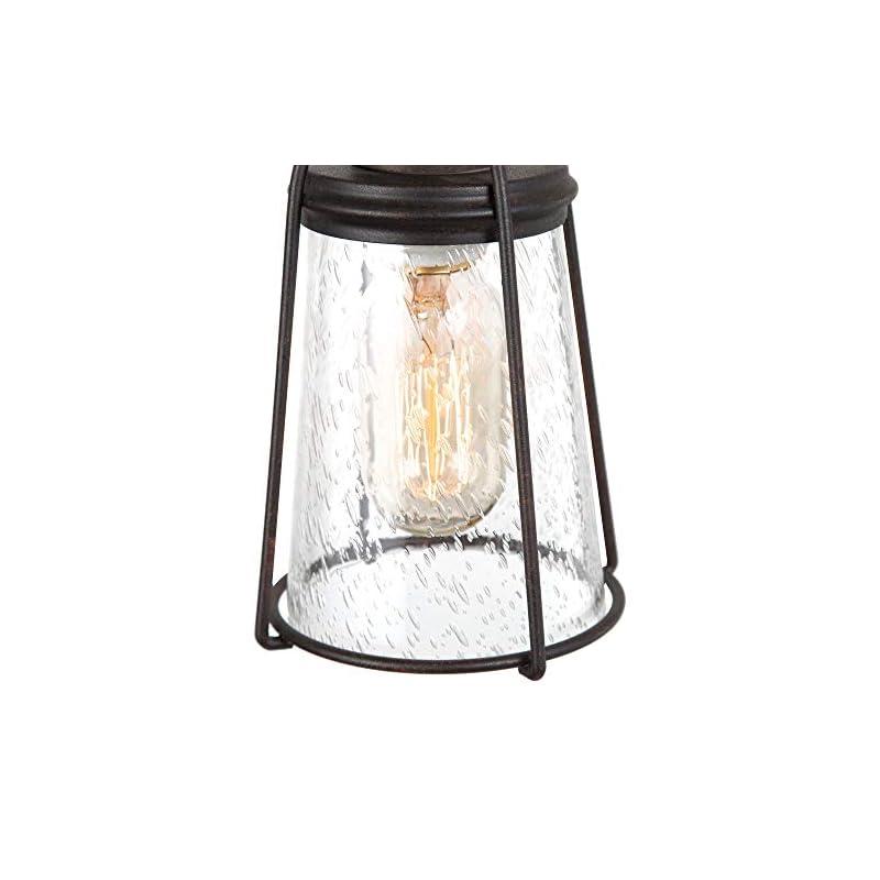 KSANA Farmhouse Pendant Lighting, Mini Rustic Hanging Light Fixture with Seeded Glass Shade for Kitchen Island, Foyer…